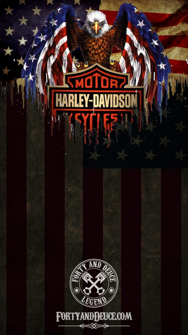 Harley Davidson Motorcycle Eagle Flag Phone Candy