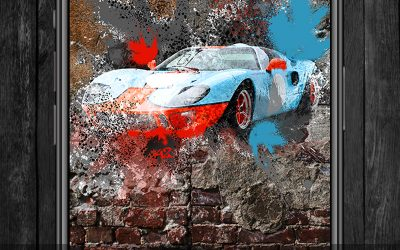 Street Awesomeness! Ford GT40 Street Art iPhone and Android Wallpaper